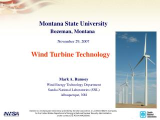 Mark A. Rumsey Wind Energy Technology Department Sandia National Laboratories (SNL)