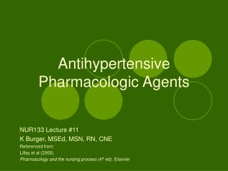 Antihypertensive  Pharmacologic Agents