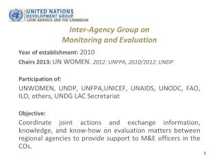 Inter-Agency  Group on  Monitoring and  Evaluation