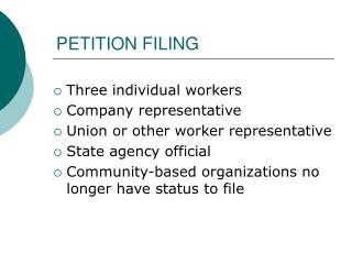 PETITION FILING