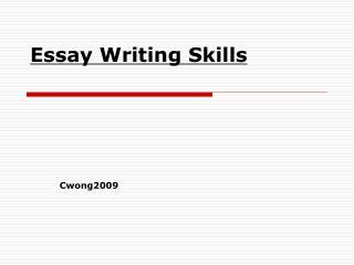 Essay Writing Skills