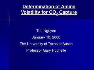 Determination of Amine Volatility for CO 2  Capture