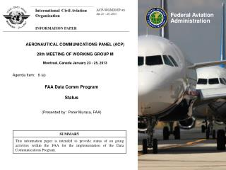 AERONAUTICAL COMMUNICATIONS PANEL (ACP) 20th MEETING OF WORKING GROUP M