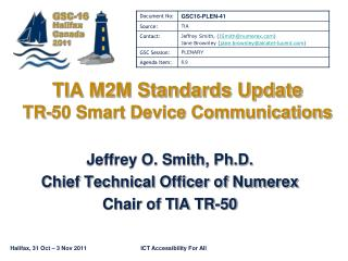 TIA M2M Standards Update TR-50 Smart Device Communications