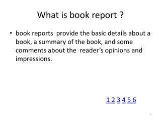 What is book report ?