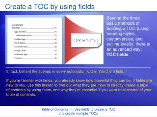 Create a TOC by using fields