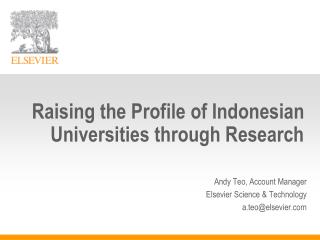 Raising the Profile of Indonesian Universities through Research