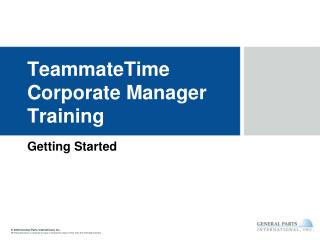 TeammateTime Corporate Manager Training