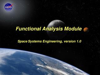 Functional Analysis Module Space Systems Engineering, version 1.0