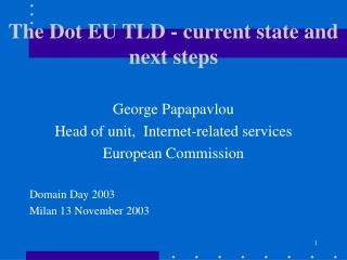 The Dot EU TLD - current state and next steps