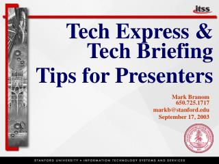Tech Express & Tech Briefing Tips for Presenters
