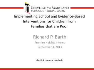 Implementing School and Evidence-Based Interventions for Children from  Families that are Poor