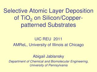 Selective Atomic Layer Deposition of TiO 2  on Silicon/Copper-patterned Substrates