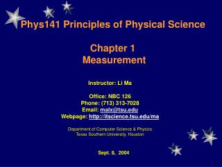 Phys141  Principles of Physical Science Chapter 1  Measurement