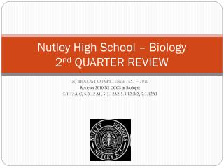 Nutley High School – Biology 2 nd  QUARTER REVIEW