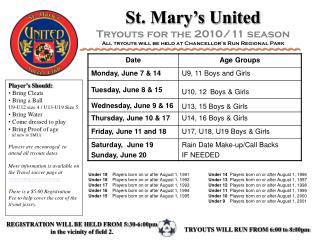 St. Mary�s United Tryouts for the 2010/11 season