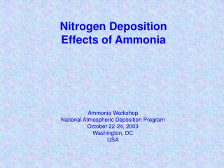 Nitrogen Deposition  Effects of Ammonia
