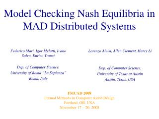 Model Checking Nash Equilibria in MAD Distributed Systems