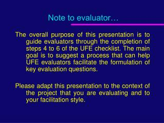 Note to evaluator…