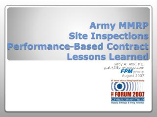 Army MMRP Site Inspections Performance-Based Contract Lessons Learned