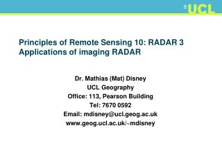 Principles of Remote Sensing 10: RADAR 3 Applications of imaging RADAR