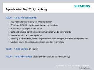 Agenda Wind Day 2011, Hamburg