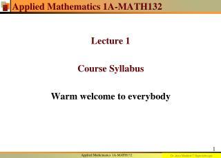 Applied Mathematics 1A-MATH132