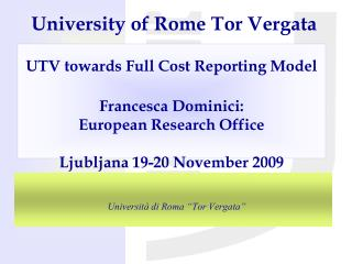 "Università di Roma ""Tor Vergata"""