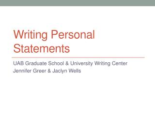Writing Personal Statements