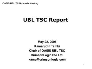 UBL TSC Report