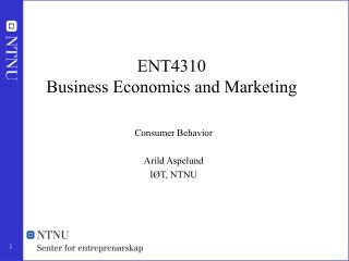 ENT4310 Business Economics and Marketing