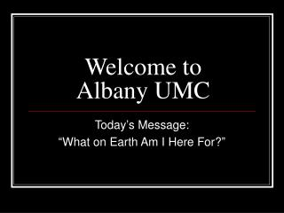 Welcome to Albany UMC