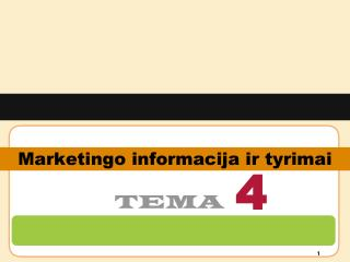 Marketingo informacija ir tyrimai