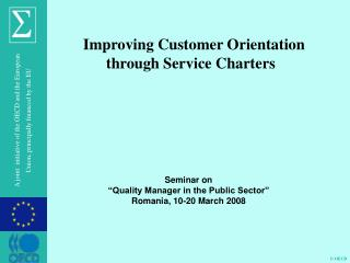 Improving Customer Orientation through  Service Charters