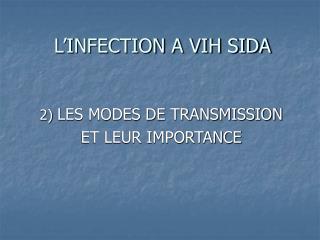 L'INFECTION A VIH SIDA
