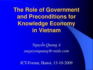 The Role of Government and Preconditions for Knowledge Economy  in Vietnam