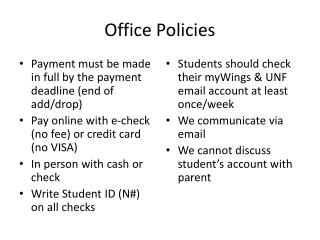Office Policies
