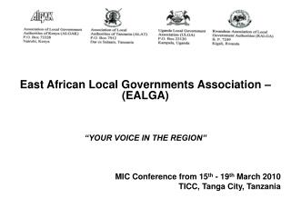 """East African Local Governments Association – (EALGA) """"YOUR VOICE IN THE REGION"""""""