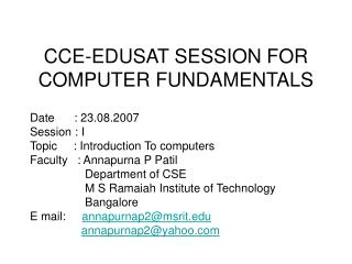 CCE-EDUSAT SESSION FOR COMPUTER FUNDAMENTALS