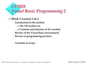 CP2028 Visual Basic Programming 2