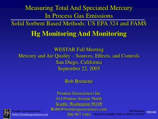 Hg Monitoring And Monitoring WESTAR Fall Meeting