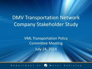 DMV Transportation Network Company Stakeholder Study