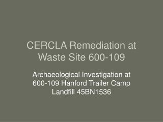 CERCLA Remediation at Waste Site 600-109