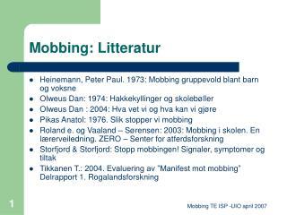 Mobbing: Litteratur