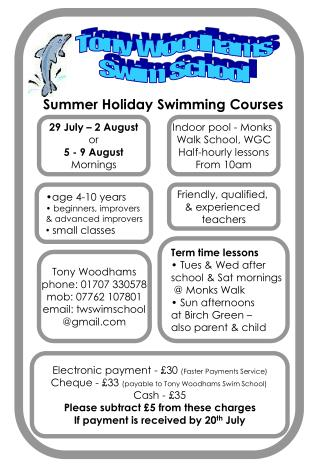 Tony  Woodhams Swim  School