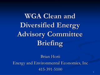 WGA Clean and Diversified Energy Advisory Committee Briefing