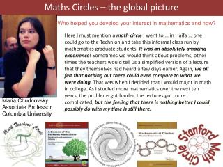 Maths Circles – the global picture