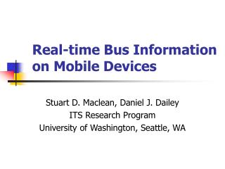 Real-time Bus Information  on Mobile Devices