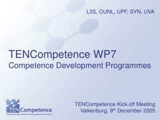 TENCompetence WP7 Competence Development Programmes