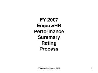 FY-2007 EmpowHR  Performance Summary Rating Process